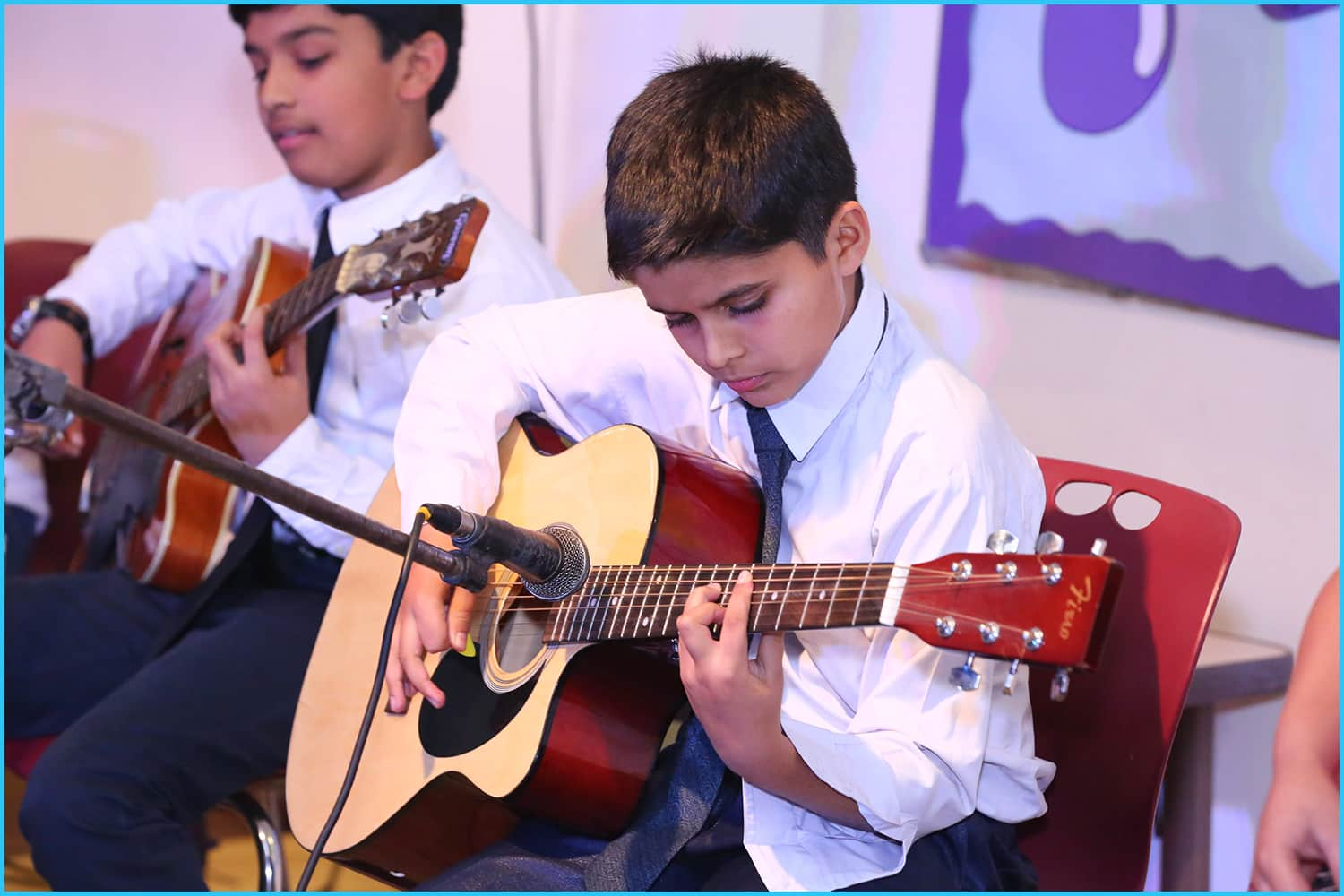 Kids learning Guitar, Piano and singing at Shan's School of Music sector 41,49,50,29 Gurgaon and Vasant Kunj, Delhi. Vasant Kunj - Aadyant School. GURGAON - the Sixth Element and Klay Prep School