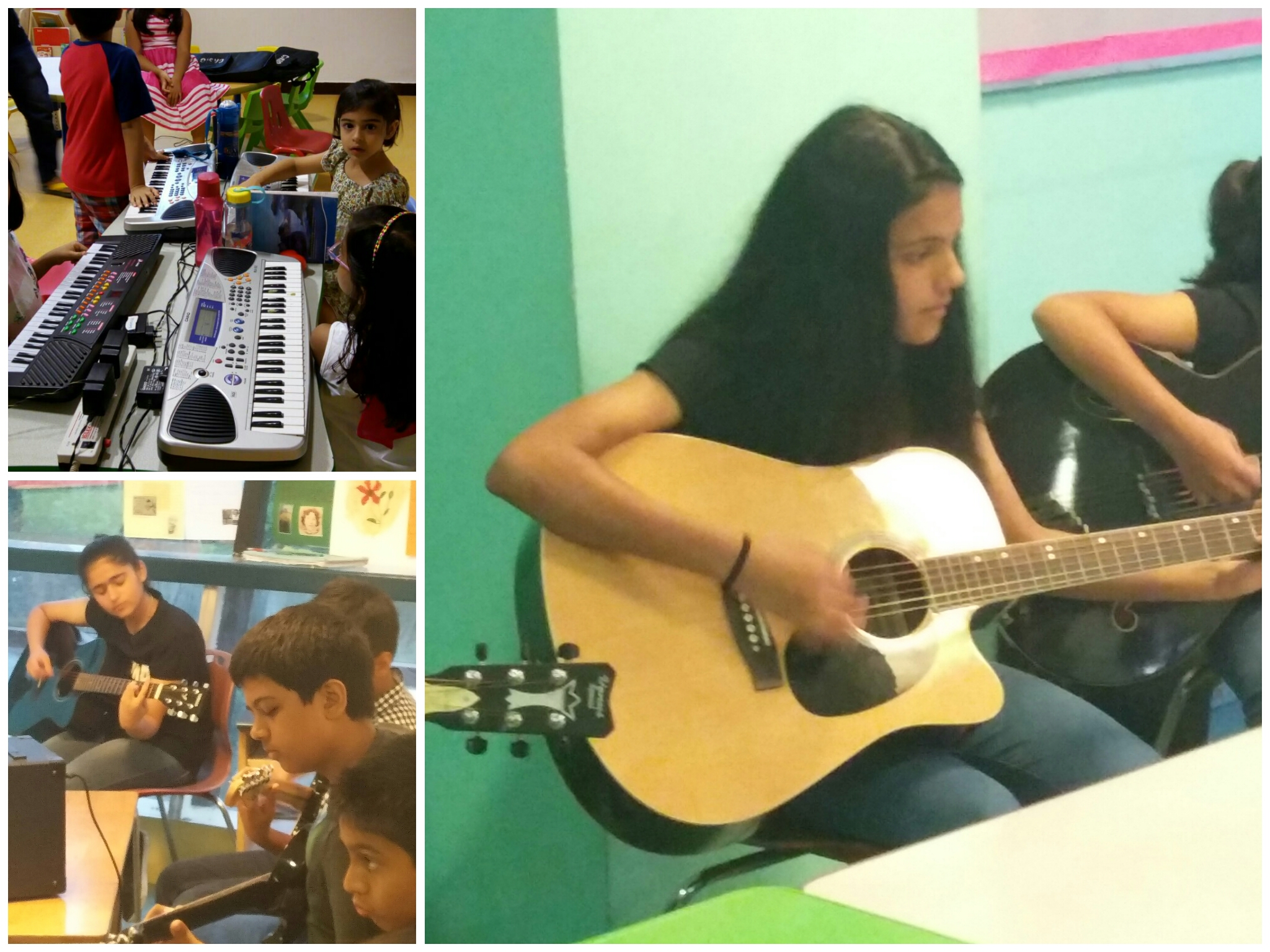 Kids at Shan's School of Music learning to play Guitar, Piano, Casio, a keyboard, Singing and Vocal Music Indian and a western at C-3 Vasant Kunj Aadyant School, the Sixth element, South City 1, Sector 29,30,41 Adharshila School, Sector 49, 50 South City 2, Nirvana Country, Close North Gurgaon